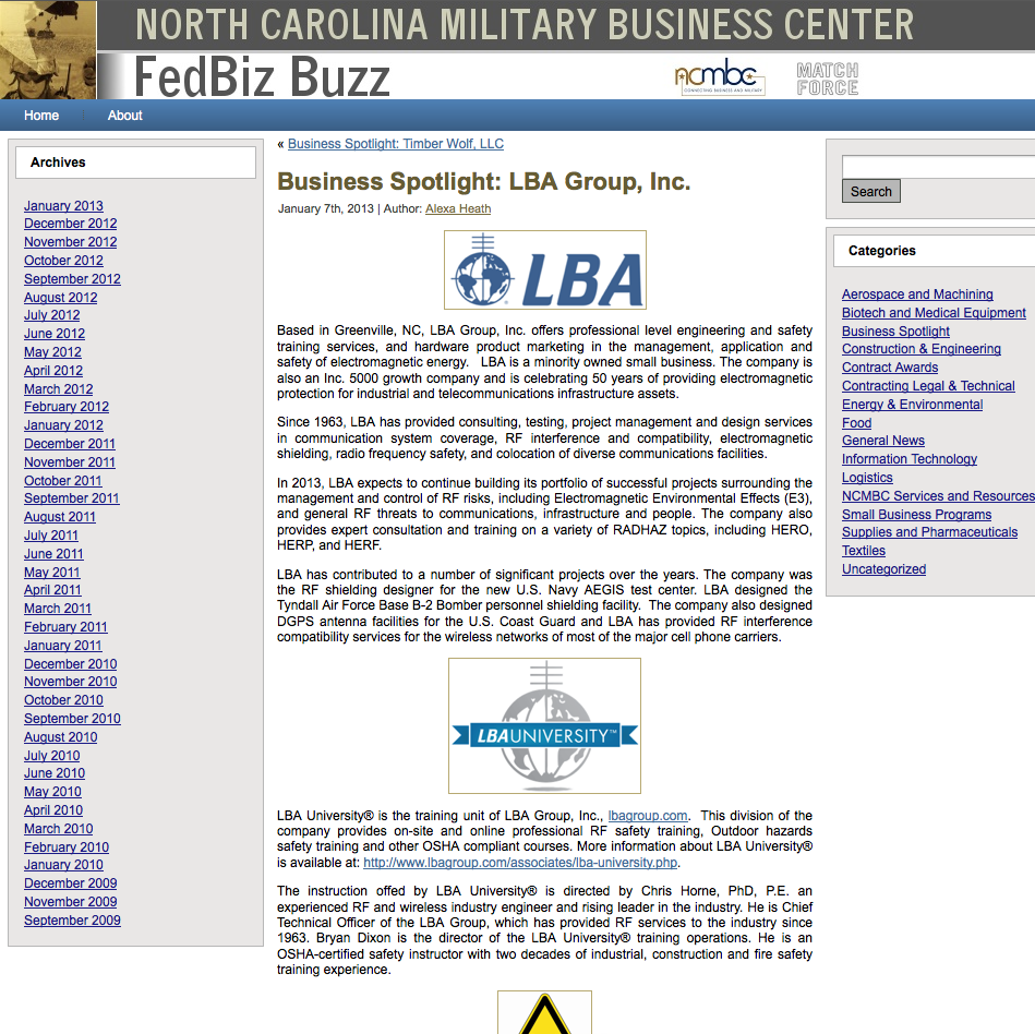 LBA Group featured in the North Carolina Military Business Center's (NCMBC) Business Spotlight