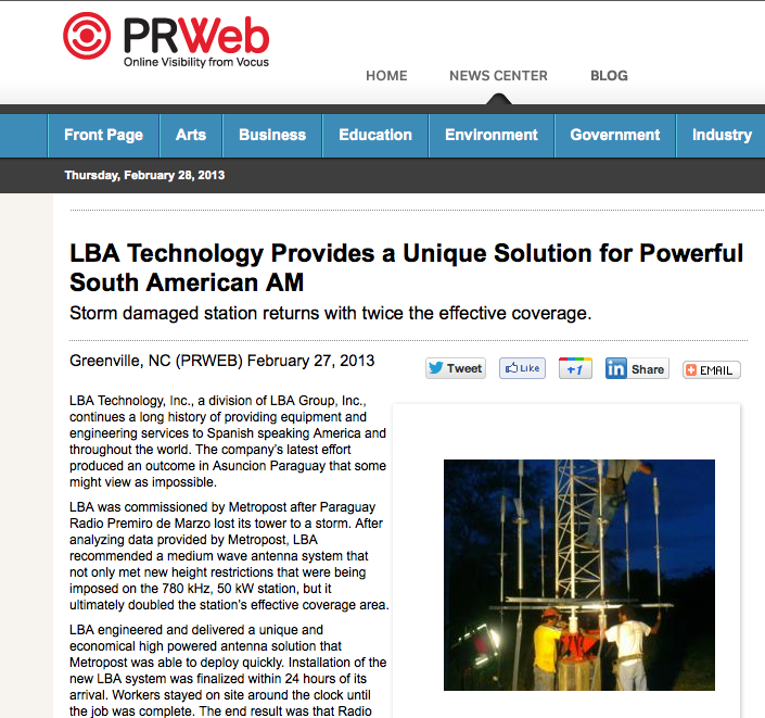LBA Technology Provides a Unique Solution for Powerful South American AM Storm damaged station returns with twice the effective coverage.