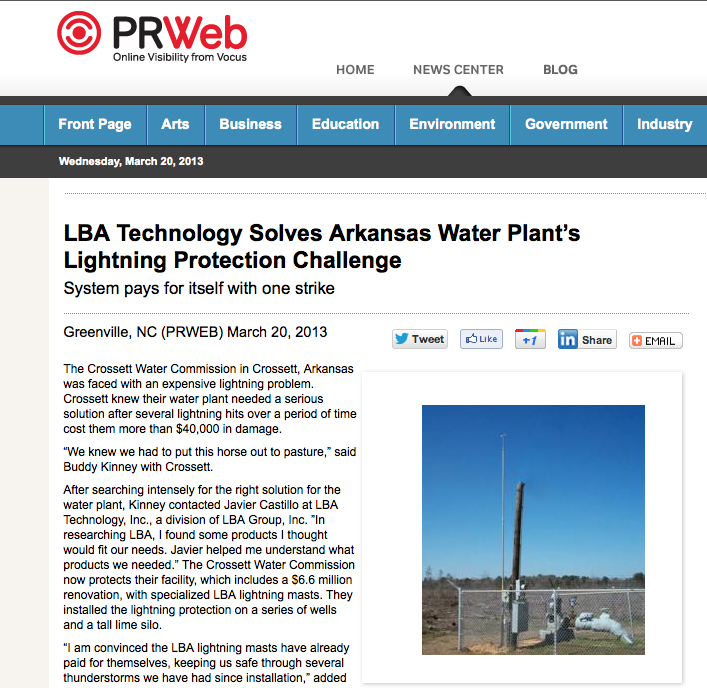 LBA Technology solves Arkansas water plant's lightning protection challenge