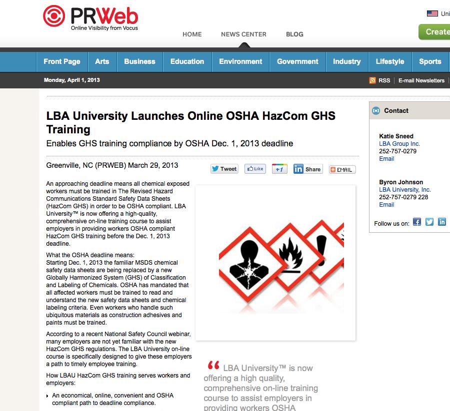 Online OSHA HazCom GHS Training