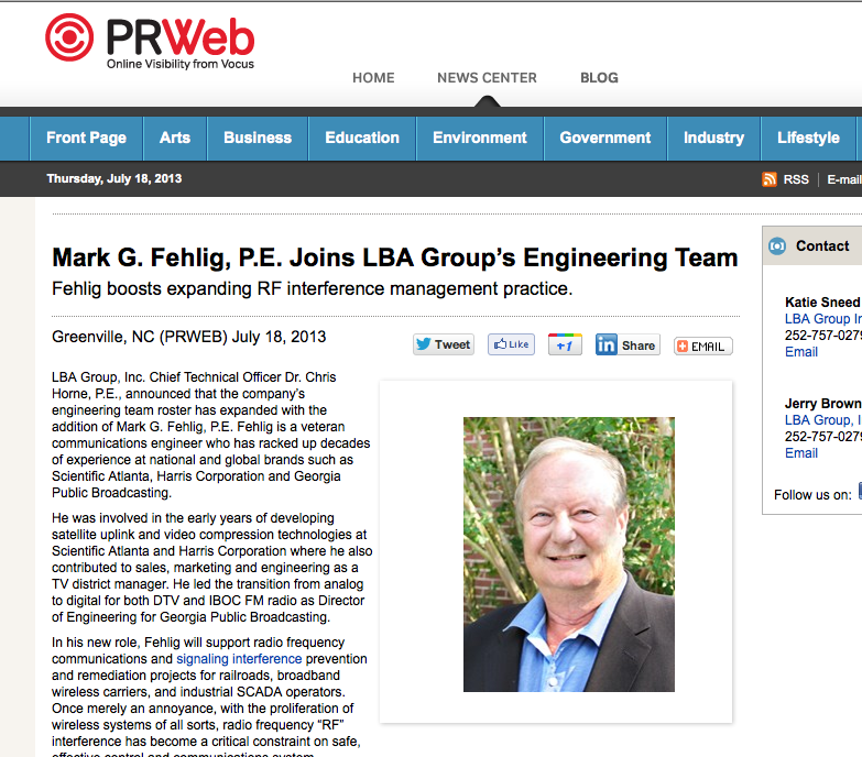 Mark G. Fehlig, P.E. Joins LBA Group's Engineering Team