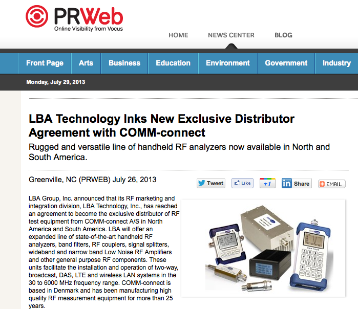LBA Technology the new distributor for COMM-connect RF Test Equipment