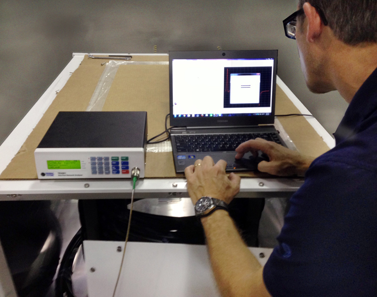 LBA CTO Chris Horne checks coaxial cable integrity with the TDR function