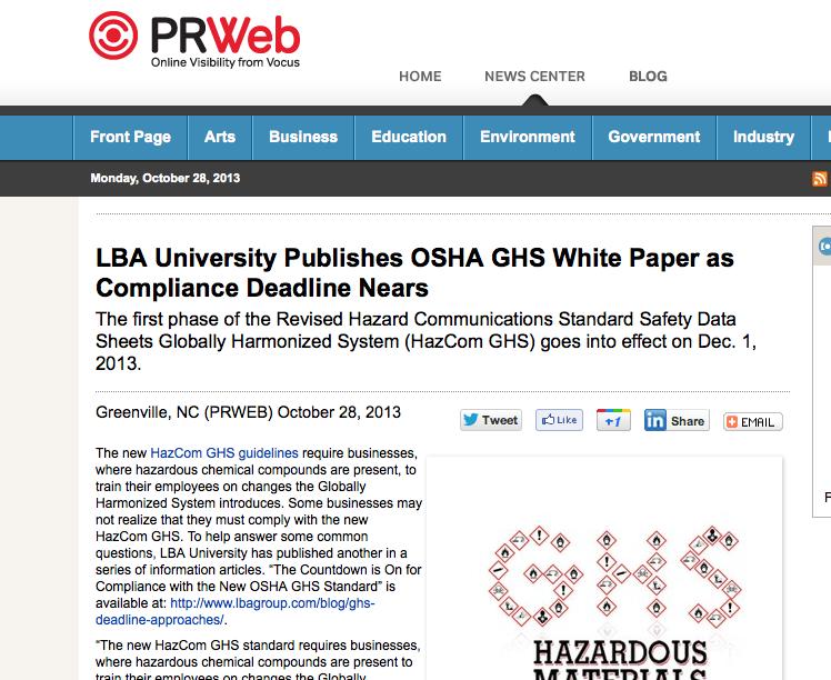 OSHA GHS White Paper