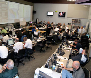 View of typical EOC staff from executive gallery