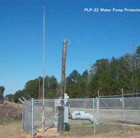 PLP-22 lightning mast protecting a water pump installation