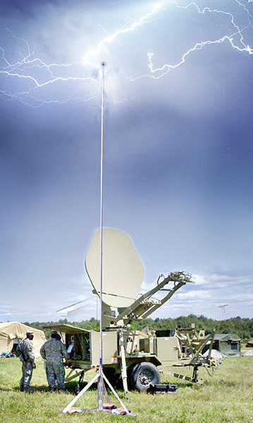 US Military uses PLP-masts to protect satellite dishes in the field