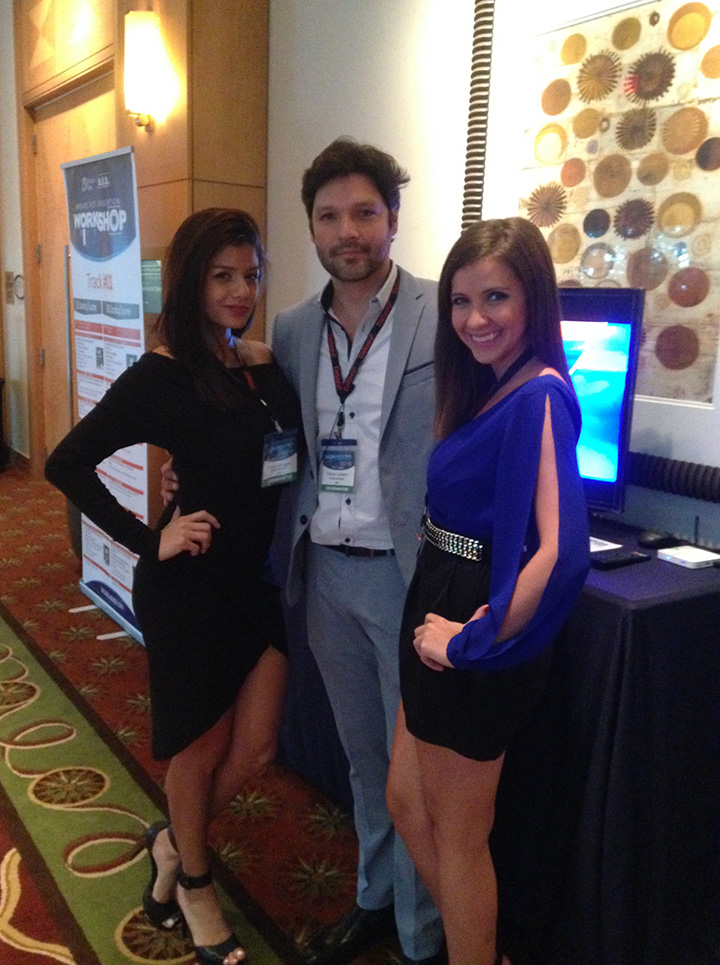 Antonio Calderon Broadcast Depot Sales Manager with two sales attendants