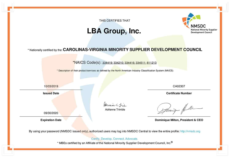 LBA Minority Small Business Certificate