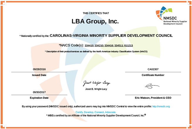 LBA Minority Small Business Certificate