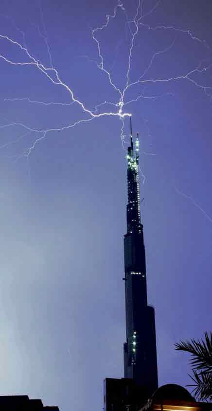 Image of lightning striking skyscraper